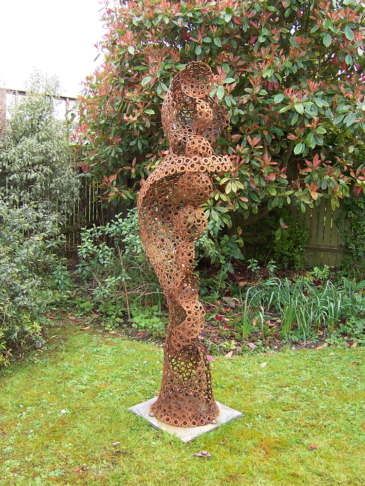 Large abstract figurative metal garden sculpture - Digital Soul 2007