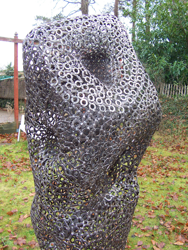 Large abstract figurative metal garden sculpture - Feeling 2009
