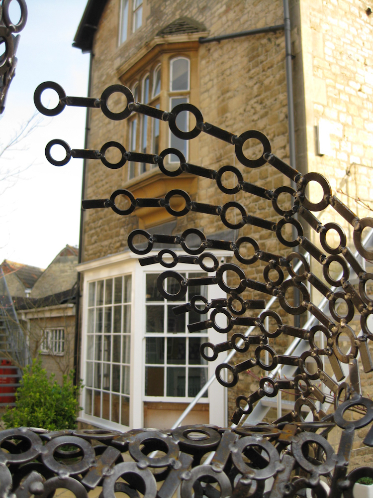 Large abstract spiritual metal garden sculpture - Twist of Faith 2009