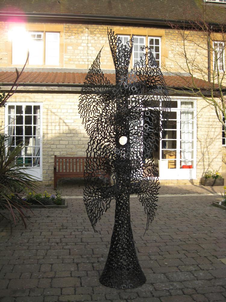 Large abstract spiritual metal garden sculpture - Twist of Faith 2009