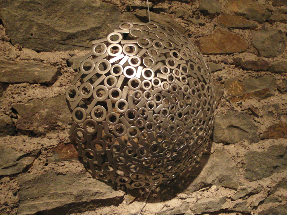 Round stainless steel metal wall art sculpture - Spun 2012