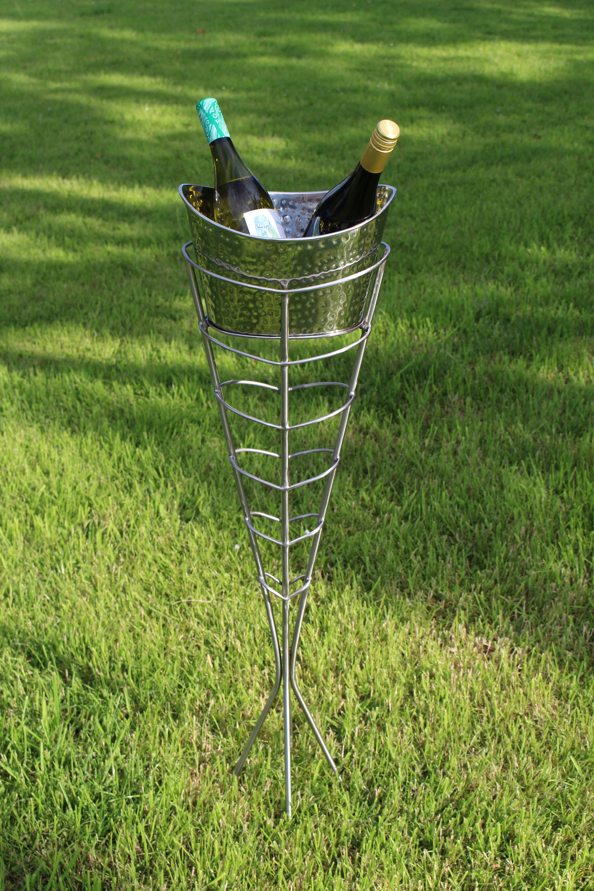 Stainless steel metal champagne bucket and stand - 2016
