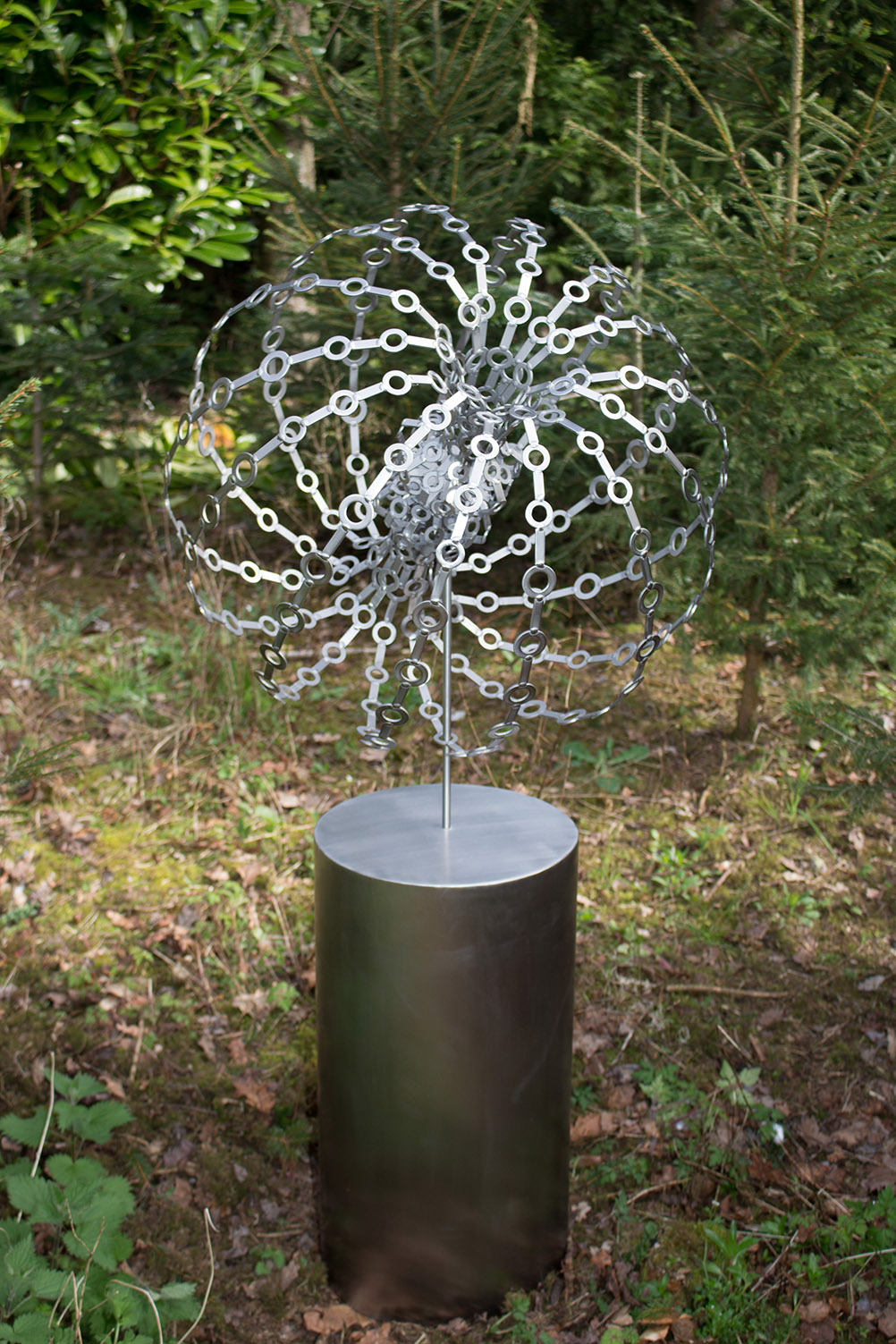 Stainless steel metal abstract garden sculpture - Potentials 2016